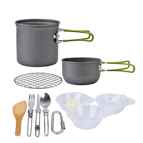 NIDONE Utensilios De Cocina De Camping Kit Hikking Cocinar Kit De Picnic Antiadherente De Cocción Fijado con Vajilla para Mochilero Trekking Verde