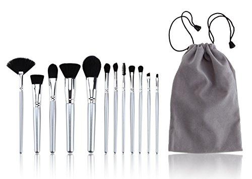 VenGone Make-up-Pinsel, 10 + 2 Stück, synthetische Kabuki-Make-up-Pinsel-Set, 10-teilig, professionelles Mischpulver, Lidschatten, Grundierungspinsel (schwarz-gold) mit Waschei und Mischschwamm
