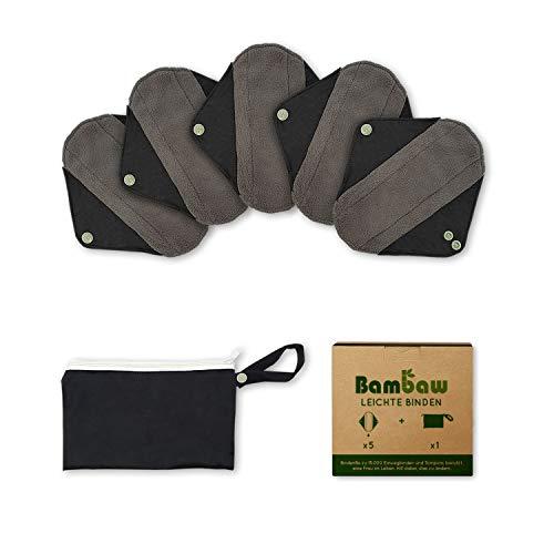 Waschbare Slipeinlagen mit Diskreter Damenbinden Tasche | Leichtes Set | Wiederverwendbare Binden | Wiederverwendbare Slipeinlagen Schwarz | Zero Waste Produkte | Stoffbinden Menstruation | Bambaw