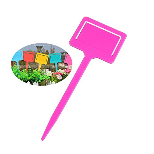Shulishishop Plant Labels Plastic Plant Markers Colorful Plant Labels Eco-friendly Plastic Plant Garden Tags Plant Labels for Flowers pink