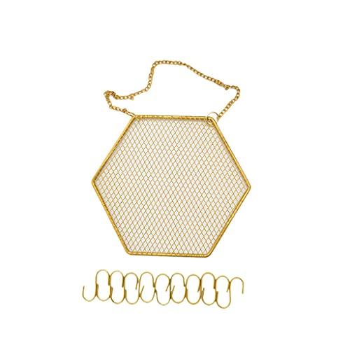 Gergxi Organizador de pared multifunción para pendientes, para colgar en la pared, para almacenamiento de joyas, pendientes y ganchos hexagonales