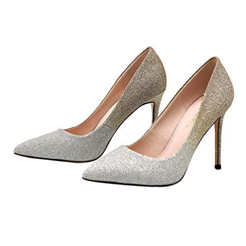 Holibanna Zapatos de Tacón Alto con Punta Puntiaguda para Mujer Zapatos de Vestir con Gradiente Sexy Y Brillo para Fiestas Banquetes Fiesta Primavera Feetwear (Champagne 7)