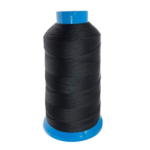 Nine to Nine Bonded Nylon Thread for Sewing Leather, Upholstery, Jeans and Weaving Hair, 1500 Yards Size #69 T70 210D/3, Heavy-Duty (Black)