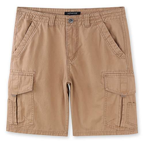 HETHCODE Mens Authentics Premium Athletic Regular Fit Cotton Canvas Cargo Short Retro Khaki 34