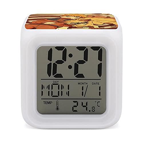 Anime Naruto Kurama - Reloj despertador con 7 colores de fácil configuración, con pantalla digital de temperatura, reloj de noche, para dormitorio, habitación, oficina, luz LED de noche
