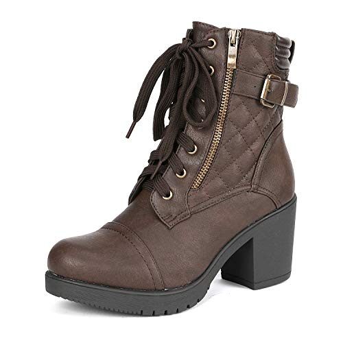 DREAM PAIRS Women's Parka Brown Chunky High Heel Boots Size 9.5 B(M) US