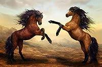 DMFNGJSD 数字油絵 フレームレス 、数字キット塗り絵 手塗り DIY絵-反馬-デジタル油絵 40x50 cm