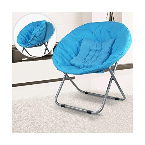 KKLL Silla Moon Asiento Plegable Silla Perezosa balcón Almuerzo Descanso sofá Tomando el Sol Silla de Dormitorio de Estudiantes (Color : Blue)