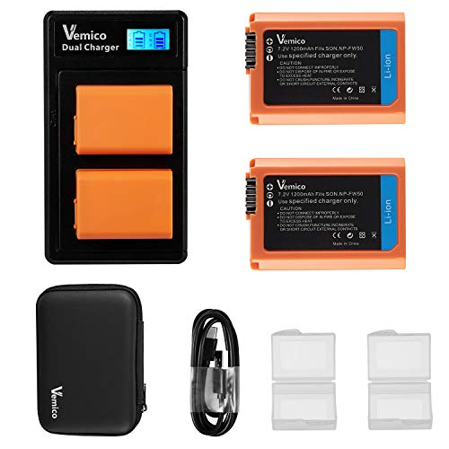 Vemico NP-FW50 Batería de Cargador para Sony Alpha 7 7ii 6500 6400...