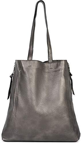 styleBREAKER Damen Tote Bag Handtasche mit seitlichen Reißverschlüssen, Shopper, Schultertasche, Notebook Tasche 02012310, Farbe:Antik-Grau