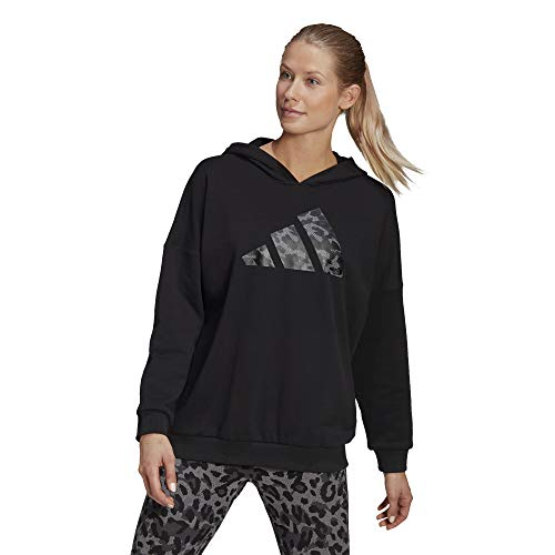 adidas,Womens,All Over Print OS Hoodie,Black,Large