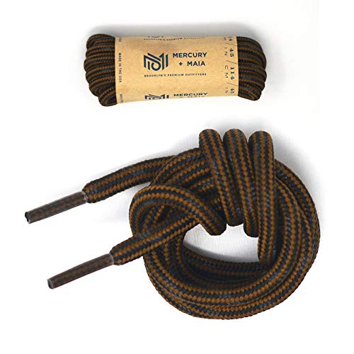 Mercury + Maia Honey Badger Work Boot Laces Heavy Duty W/Kevlar - USA Made (Chestnut and Black) (84 in 1 Pair Pack), 84 in (1p)