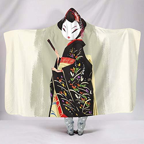 Wandlovers Manta con capucha para el año japonés, diseño de güisa, kimono, cálida, invierno, de peluche, mágica, con capucha, color blanco, 130 x 150 cm