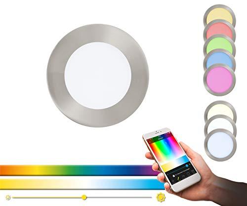 Panel LED empotrado EGLO connect FUEVA-C, lámpara empotrada Smart Home, material: metal fundido, plástico, color: níquel mate, Ø: 12 cm, regulable, tonos blancos y colores ajustables