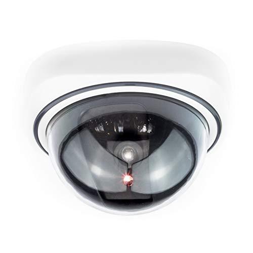 Kamera Attrappe: Dome-Überwachungskamera-Attrappe mit durchsichtiger Kuppel und LED (Dummy Sicherheits Kamera)