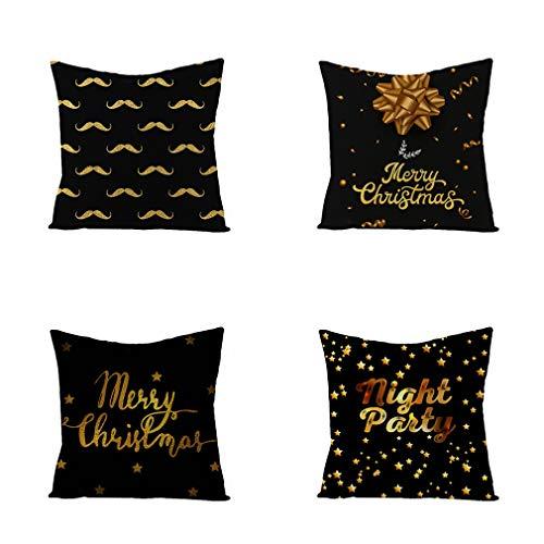 Nunubee - Juego De 4 Fundas De Almohada Decorativas con Diseño De Letras Navideñas, Fundas De Almohada Decorativas para Sofá Y Oficina (Color De La Imagen, 45 X 45 Cm)