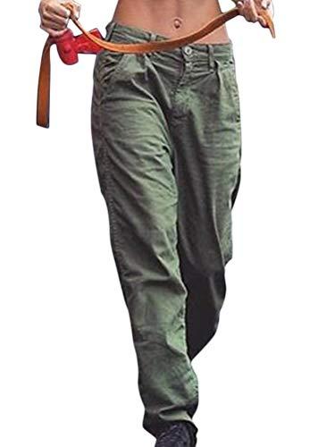 Minetom Pantalon Cargo Femme Taille Haute Hip Hop Streetwear Baggy Harem Pants Trousers Biker Punk Rock Pantalon Sportive Travail Jogging Legging Sweatpants Armée Verte XL