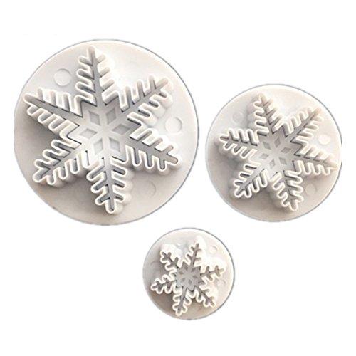 Allforhome Lot de 3 pcs neiges Emporte-pièces pour décoration de gâteaux Fondant Outil de gaufrage Moules