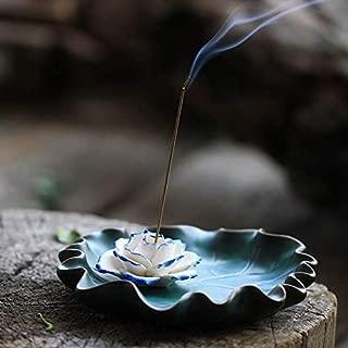Mosfantal Incense Holder for Sticks- Ceramic Lotus Incense Burner Ash Catcher Tray 5.5 Inch