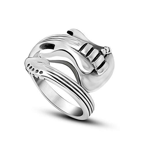 USUASI moda estilo coreano apertura masculina y femenina solo anillo titanio anillo de acero par accesorios rock música guitarra anillo SA711 Plateado