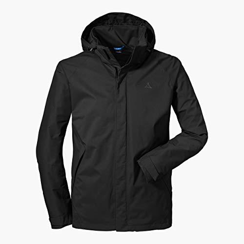 Schöffel Herren Jacket Easy M4 Wind-und wasserdichte Jacke mit Pack-Away-Tasche, leichte und atmungsaktive Regenjacke für Männer, Schwarz (black), 52