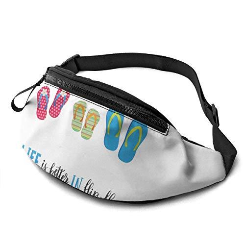 Taillentasche Flip Flops Kalligraphie Strandschuhe Taillenpackung/Gürteltasche/Reisetasche für Männer Frauen Outdoor Sport Marathon Wandern
