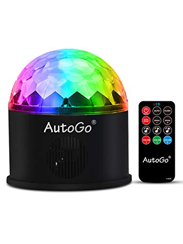 AutoGo Mirror Ball, Disco Light, 9 Color RGB Evolved Version, LED Stage Light, Stage Light, Remote Control, Voice Activation, Multi-functional, Crystal Rotating Ball Light, USB Powered, Party, Holiday, Karaoke, Club, Cultural Festival, Garden, Birthday, Outdoor