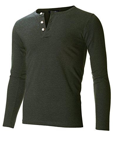 FLATSEVEN Men's Slim Fit Casual Long Sleeve Henley T Shirt (THL100) Black, M
