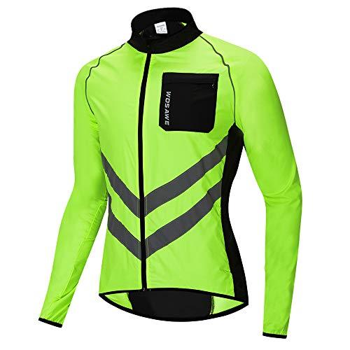 WOSAWE Hombres Ciclismo Chaquetas Impermeable Chaleco Ligero Motocicleta Viento Reflectante Abrigo Correr Montañismo Ropa Deportiva(218 Verde 3XL)