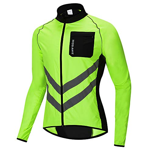WOSAWE Fahrradjacke für Herren Damen wasserdichte Ultraleichte Sportbekleidung Atmungsaktiv für Radfahren, Laufen, Wandern, Bergsteigen (BL218 Grün XXL)