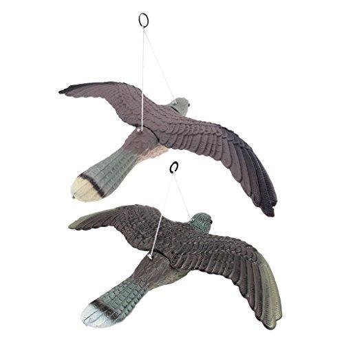 Sharplace 2 Stück Falke Taubenschreck Vogelschreck 53cm, ideal für Dachfenster und Balkon verjagung von Tauben und andere Vogel