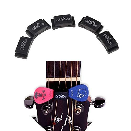 Imelod Pick Holder for Guitar Bass Ukulele, Multi Packaged, 5pcs per Package, Rubber Pick Holder Fix on Headstock Between String 3 & 4, D & G