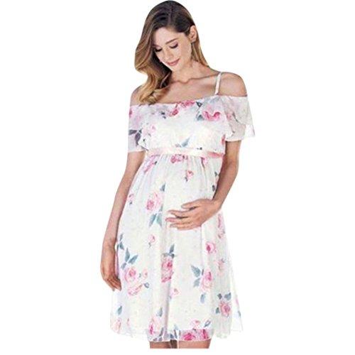 Trada Umstandskleid, Kleidung Damen Mutter Floral Falbala schwanger Schulterfrei Kleid für Umstandsmode Hochzeit Schwangere Kleid Festlich Schwangere Kleider Elegant Kleider (M, Weiß)