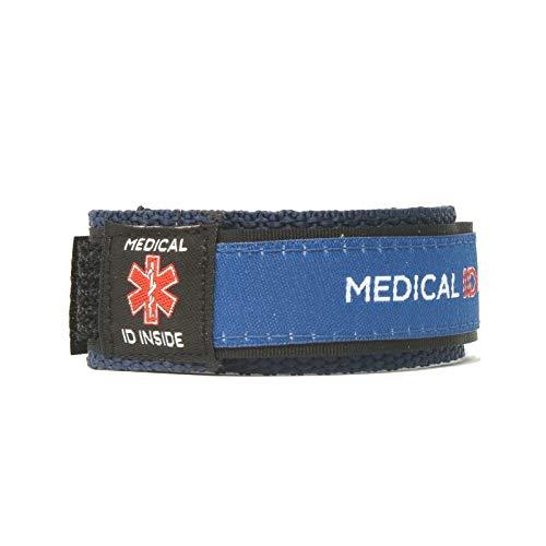 Großes medizinisches Notfall-Armband im Inneren, Stoff-Armband, Handy-Zugang, kein GPS, Alarmkontakte, Unisex, Demenz, Epilepsie, Addisons, Alzheimer (groß bis 20,3 cm Handgelenk, blau)