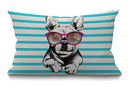 Smooffly Dog Decorative Pillow Cover, French Bulldog Wearing The Sunglasses Lumbar Pillow Cover Modern Farmhouse Cushion Case Home Decor for Living Room Patio Sofa Couch Chair 12 x 20 Inch