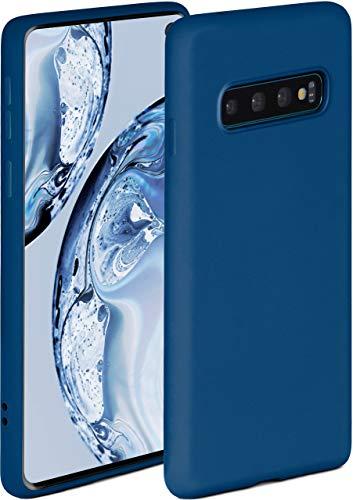 ONEFLOW Soft Hülle kompatibel mit Samsung Galaxy S10 Hülle aus Silikon, erhöhte Kante für Displayschutz, zweilagig, weiche Handyhülle - matt Blau