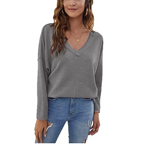 ZFQQ suéter Acolchado con Hombros caídos y Cuello en V Suelto Informal de Color sólido Informal para Mujer de otoño / Invierno