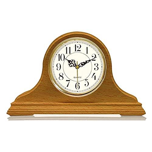 Reloj De Sobremesa Reloj De Manto De Madera Silencioso Operado Por Pilas Con Estante De Madera Maciza En Horario Reloj De Mesa De Timbre Decorativo Para Chimenea Escritorio De Oficina De Repisa