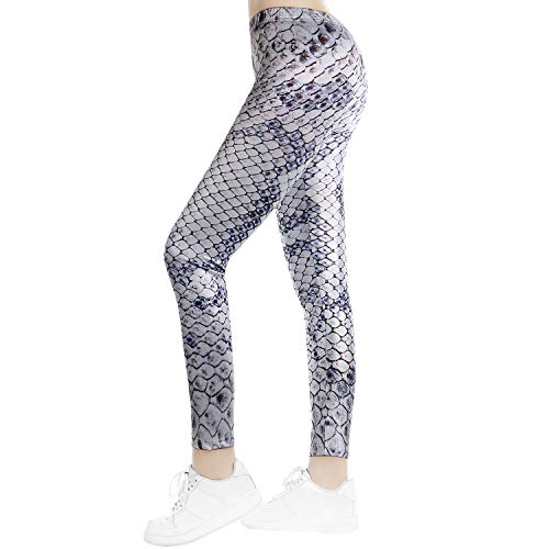 TSWRK Damen Leggings Schlange Yoga Legging Snake Print Lang Hohe Taille Damen Hose Stretchy Yogahose