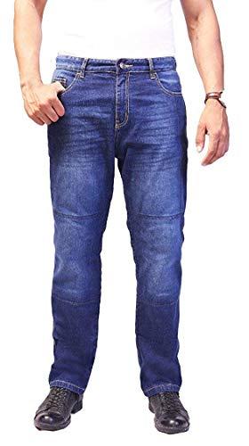 Huxaly Bros HB Men's Bikers Kevlar Jeans - Motorcycle Motorbike Jeans - Kevlar Jeans -36W X 30L Blue