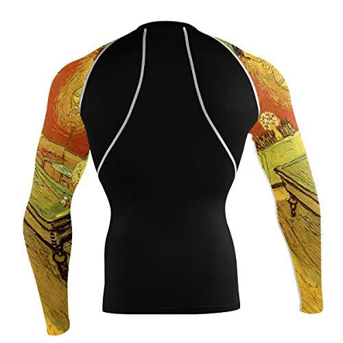 Fantazio Van Gogh Night Cafeclub T-shirt à manches longues pour vélo de montagne et vélo de route - - L