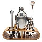 ATRE Cocktail Shaker Set, Ovaler Holzständer Edelstahl Bartending Tool, Shaker Rührlöffel EIS Gebrochener Stab Sieb Eiszange Weinöffner