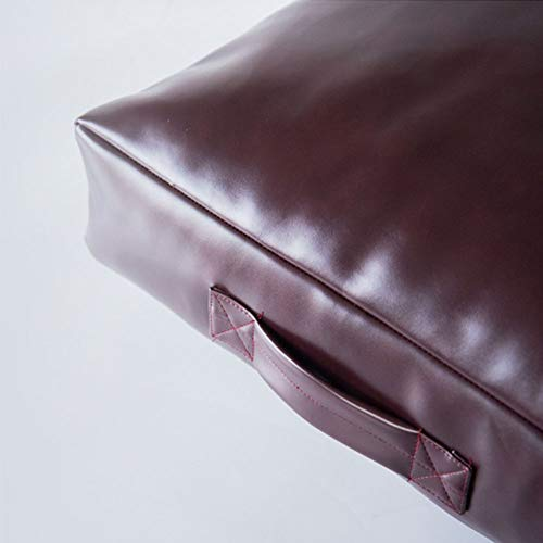 LoveHouse Leather Floor Cushion Seating,Square Floor Pillow Cushion with Handle,Large Tatami Floor Pad for Bedroom Reading Nook Watching Tv Brown 18×18inch