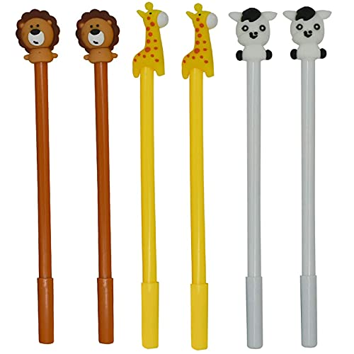 Maydahui 12PCS Cute Animal Rollerball Pens Cartoon Lion Giraffe Horse Style Black Gel Ink for School Office Stationery Supplies
