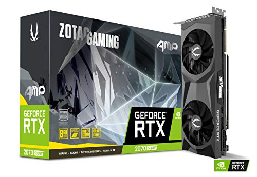 ZOTAC GAMING GeForce RTX 2070 Super AMP Grafikkarte (NVIDIA RTX 2070 Super, 8GB GDDR6, 256 Bit, Boost-Takt 1800Mhz, 14Gbps)