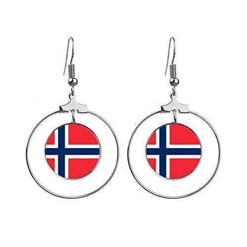 Noorwegen Nationale Vlag Europa Land Oorbellen Dangle Hoop Sieraden Drop Cirkel