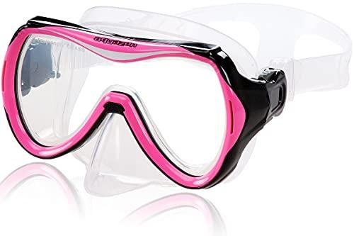AQUAZON Maui Junior Medium Schnorchelbrille, Taucherbrille, Schwimmbrille, Tauchmaske für Kinder, Jugendliche von 7-14 Jahren, Tempered Glas, sehr robust, tolle Passform, Farbe:pink Junior