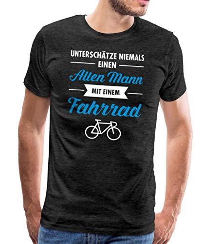 Spreadshirt Alter Mann Mit Fahrrad Lustiger Spruch Männer Premium T-Shirt, L, Anthrazit