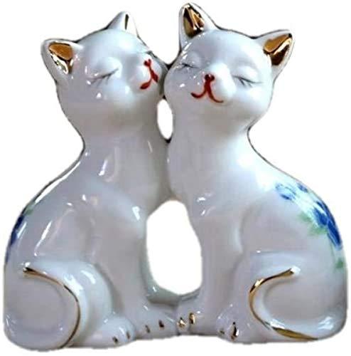 JLXQL Statue Animal Sculpture Cat Figurine Ceramic Kitty Miniature Home Decor Gift Ornament Knickknack