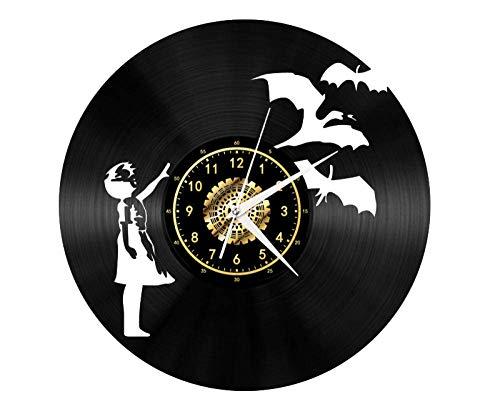 JIEDOUD Reloj De Pared De Vinilo, Niña Y Ganso Blanco, Ambiente Retro, Silueta, Registro, Regalo...